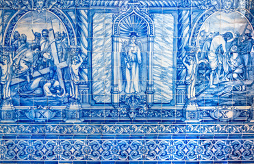 Evora, Portugal - October 17, 2019: Typical Portuguese azulejo tilework in St Francisco church. Azulejos constitute a major aspect of Portuguese architecture as they are applied on walls, floors and e