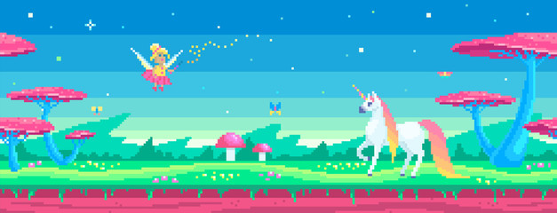 Fotobehang Blauw Pixel art scene with a magical unicorn and fairy.