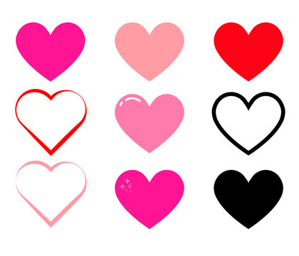Set of color vector hearts for social app icons, live stream, chat, likes. Love icon, symbol or button on white. Pink hearts for wedding.