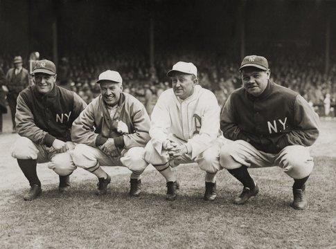 Four great baseball champions before the season opener at Philadelphias Shibe Park, April 11 or 13, 1928