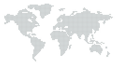 Vector dotted world map. isolated background. Flat Earth, gray map template for web site pattern, anual report, inphographics. Globe similar worldmap icon. Travel worldwide, map silhouette backdrop