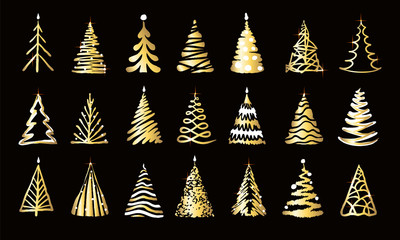 Hand drawn golden twinkle doodle christmas tree set. Many group shiny silhouette shining with bright light, sparks on black background. New year holiday simple vector luxury, metallic tinsel symbol