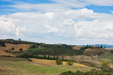 Typical rural landscape panorama at south Tuscany, Siena province, Tuscany, Italy
