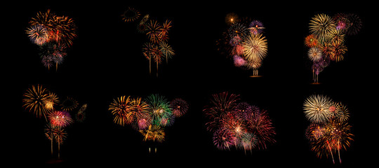 Multiple fireworks Collection set (high resolution)