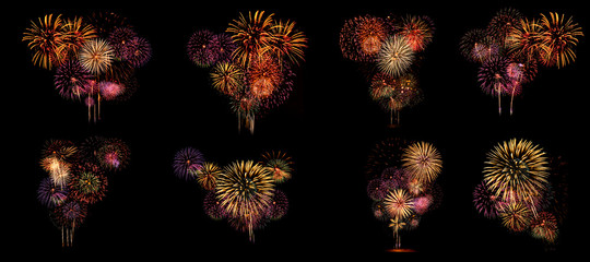 Multiple fireworks Collection set (high resolution) Wall mural