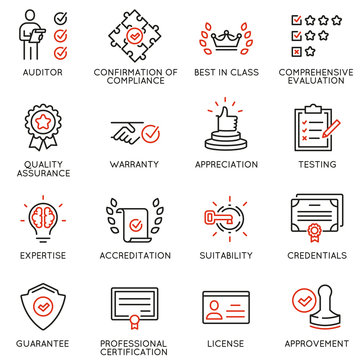Vector set of linear icons related to approvement, accreditation, quality check and affirmation. Mono line pictograms and infographics design elements