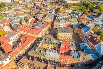 Lublin z lotu ptaka - stare miasto i trybunał koronny widziany z powietrza.