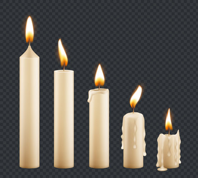 Burning candle. Stages combustion of wax decorative candle light flame vector keyframe animation. Illustration candle fire light, wax and candlelights