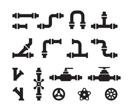 Pipe icons. Metal industry water pipelines valve constructions connectors steel vector pipes silhouettes. Part of pipe tube, pipeline for water illustration