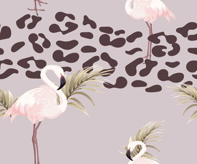 Seamless pattern with leopard spots, flamingos and palm leaves