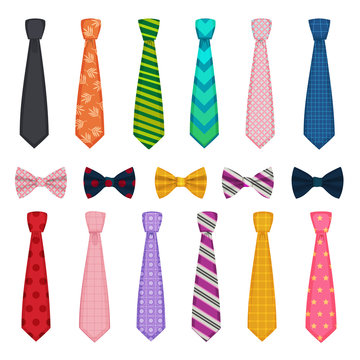 Tie and bows. Colored fashion clothes accessories for men shirts suits vector collections of ties. Tie bow and necktie, man accessory clothes illustration