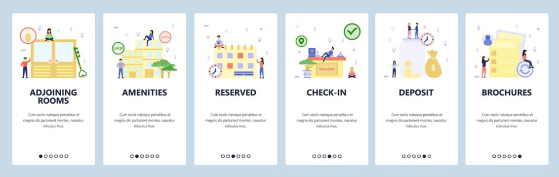Mobile app onboarding screens. Hotel building, booking room, check-in counter. Menu vector banner template for website and mobile development. Web site design flat illustration