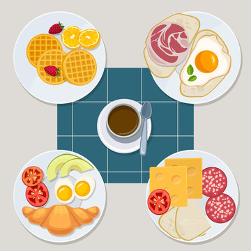 Breakfast food. Healthy everyday products menu croissant pancakes eggs sandwich milk juice vector cartoon style. Illustration healthy sandwich, bacon and dessert