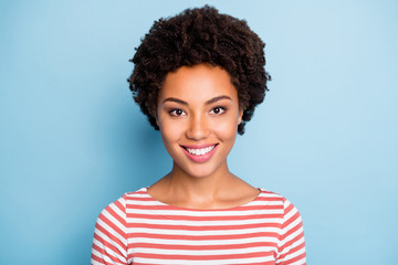 Fototapete - Closeup photo of amazing dark skin lady in perfect summer mood toothy beaming smiling wear striped white red shirt isolated blue pastel color background