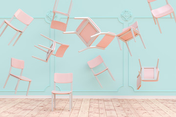 3D rendering of chairs flying around in big turquoise room with stucco