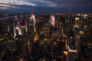 Manhattan New York city streets during sunset