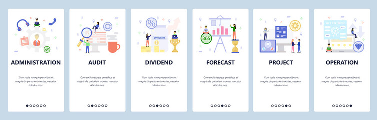 Wall Mural - Mobile app onboarding screens. Business management and investment, profit, financial forecast, project. Vector banner template for website and mobile development. Web site design flat illustration
