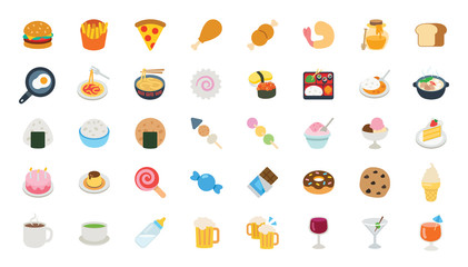 Big Set of Food, Dishes Vector Icons. Fast Food Isolated Cartoon Style Flat Illustrations Collection