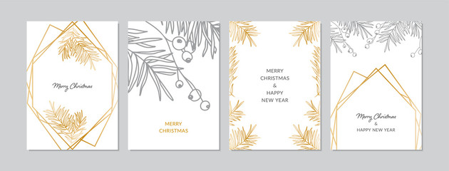 Gold and silver Christmas cards set with hand drawn tree branches and berries. Doodles and sketches vector illustrations, DIN A6