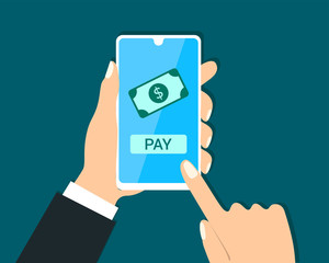 businessman transaction pay from mobile phone. Click to pay from smartphone.