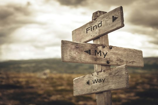 Find my way signpost. Nature, adventure, message, text, quote concept.