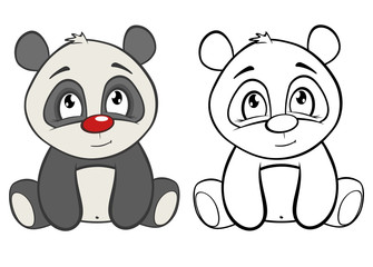 Photo sur Aluminium Chambre bébé Vector Illustration of a Cute Cartoon Character Panda for you Design and Computer Game. Coloring Book Outline Set