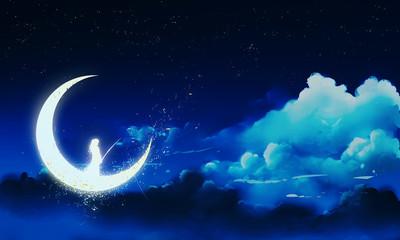Traumfängerin - Frau in Mond fischt illustration Gemälde