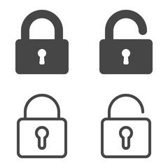 Lock icon. Set of lock icons in flat and outline design style isolated on white background. Vector EPS10.