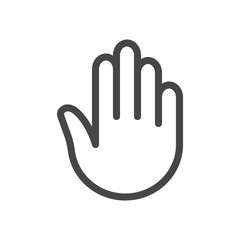 Stop hand Icon in outline style isolated on white background. Stop symbol for your web site design, logo, app, UI. Vector illustration, EPS10.