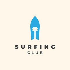 Surfing board with palm tree illustration for surfing club logo template design.