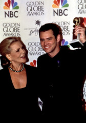 LAUREN BACALL with Golden Globe winner JIM CARREY