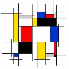 Abstract painting, geometric, squares, black, blue, yellow, red