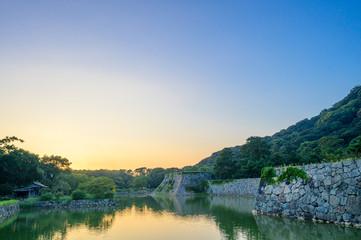 夕暮れの萩城址の眺め(山口県)