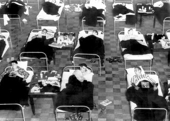 Hundreds of students sick with Asian Flu at an emergencey infirmary, Amherst Mass., 1957