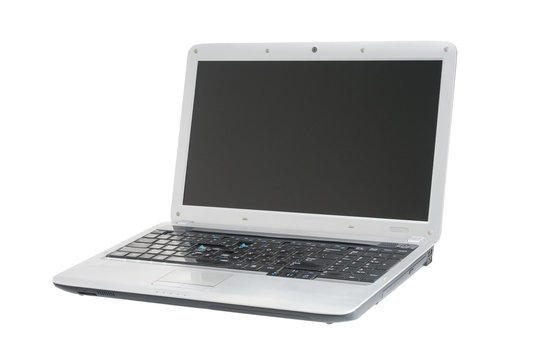 Used laptop computer isolated on white background