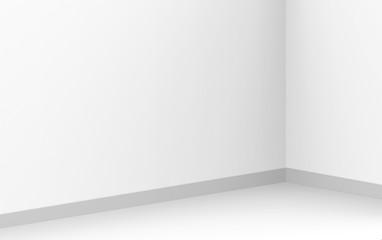 3d rendering. modern simple minimal white corner room box wall design background.