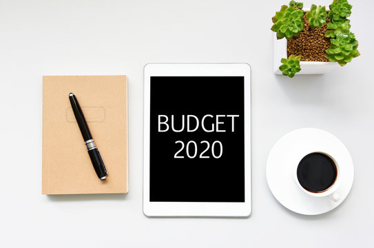 BUDGET 2020 Business Concept,minimal style