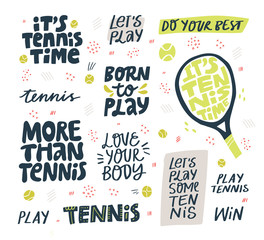 Play tennis hand drawn vector letterings set