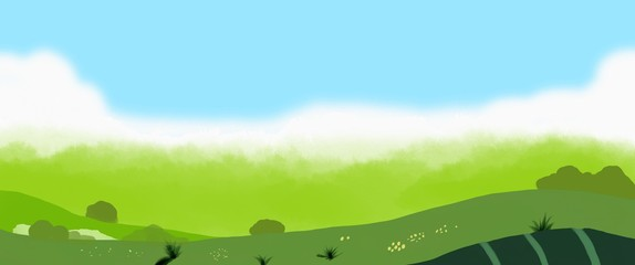 Aluminium Prints Lime green Green landscape illustration