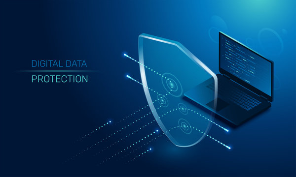 isometric vector image on a dark background, a transparent shield covering the laptop from virus attacks, protection of digital data