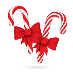 Christmas candy canes with red bow. Christmas sweets vector illustrations collection. Part of set.
