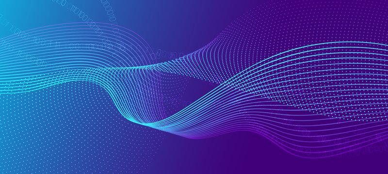 Vector Science Flyer. Matrix Data Stream. Violet