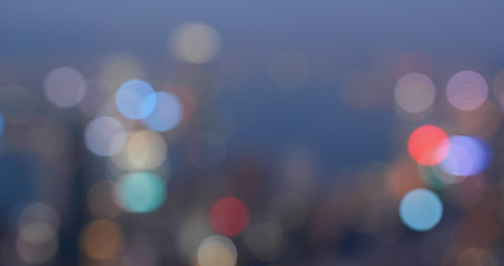 Fototapete - Bokeh of city of Hong Kong in the evening