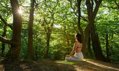 Shot of one young women doing yoga in the green sunrise forest. Fitness people sitting on the exercise mat and relaxing in lotus yoga position. Female model meditating in lotus pose turning back