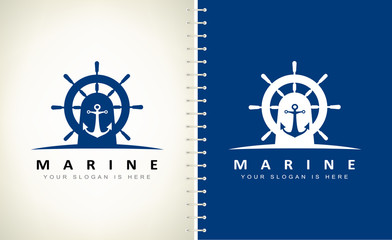 helm and anchor logo vector design