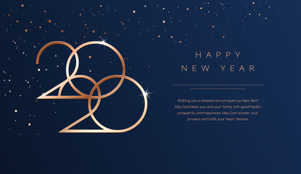 Luxury 2020 Happy New Year background. Golden design for Christmas and New Year 2020 greeting cards with New Year wishes