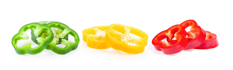 sliced green yellow red bell pepper isolated on white background