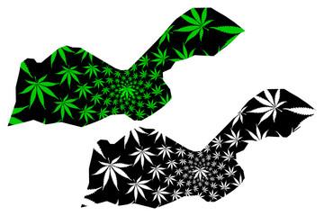 Obraz Dire Dawa Region (Federal Democratic Republic of Ethiopia, Horn of Africa) map is designed cannabis leaf green and black, Dire Dawa Regional State map made of marijuana (marihuana,THC) foliage.... - fototapety do salonu
