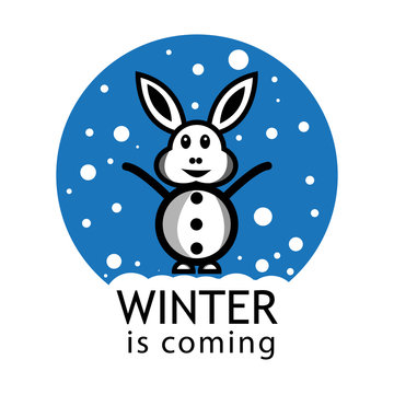 Winter is coming vector background. Happy rabbit with snow