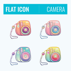 Set of color camera sketched icons. Collection of hand drawn stickers with street food meal. Design elements for logo, menu, ads, promo poster or banner.